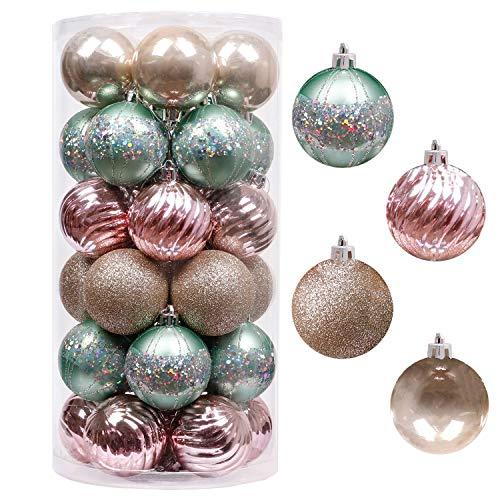 Valery Madelyn Weihnachtskugeln 30 Stücke 6CM Kunststoff Christbaumkugeln Weihnachtsdeko mit Aufhänger für Weihnachten Dekoration Eleganter Palast Thema Mintgrün Rosa Gold