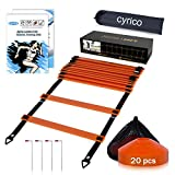 cyrico Agility Ladder Speed Training Equipment, 12 Rung 20FT Speed Ladder Soccer Training Equipment, Football Accessories Workout Ladder with 20 Disc Cones