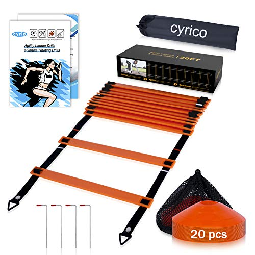 cyrico Agility Ladder, 12 Rung 20ft Speed Workout Soccer Training Ladder Sports Soccer Agility Training Equipment, Includes Drill Charts, Carry Bag, 20 Disc Cones, 4 Stakes
