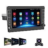 1 Din Autoradio Android GPS Podofo Touch screen da 8 pollici WIFI Bluetooth Radio FM Collegamento specchio per telefono cellulare Dual USB + fotocamera posteriore