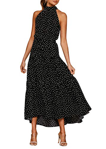 Eledobby Cuello Halter Vestidos Largos para Mujer Polka Dot/Estampado Floral Vestido con Cinturón Sin Mangas Boho Vestido De Verano Casual Primavera Verano Ropa Negro S