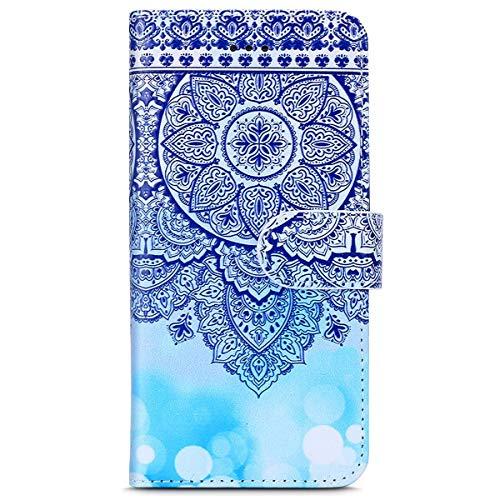 kompatibel mit Moto G5 Plus Hülle,Moto G5 Plus Schutzhülle,Lederhülle für Motorola Moto G5 Plus Tasche Leder Flip Case Brieftasche Etui Schutzhülle Flip Hülle Handytasche,Blau Marble Mandala Blumen