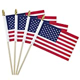Lapogy American Handheld Flags,4th of July Decoration Wooden on Stick Flags 6x4'',12 PCS USA National Country Flags,US Mini Flag/Small American Flag on Stick Party Decors Supplies,for Parades,Festival