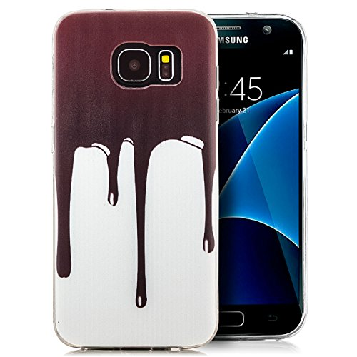 Custodia Samsung Galaxy S7 edge Cover Silicone Slim Case, Custodia sottile e flessibile con Motivo Cioccolato