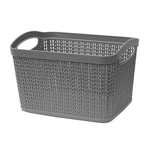 JVL Knit Design Loop Plastic Rectangular Small Storage Basket with Handles, Grey, 20 x 26 x 17 cm, 6.6 Litres
