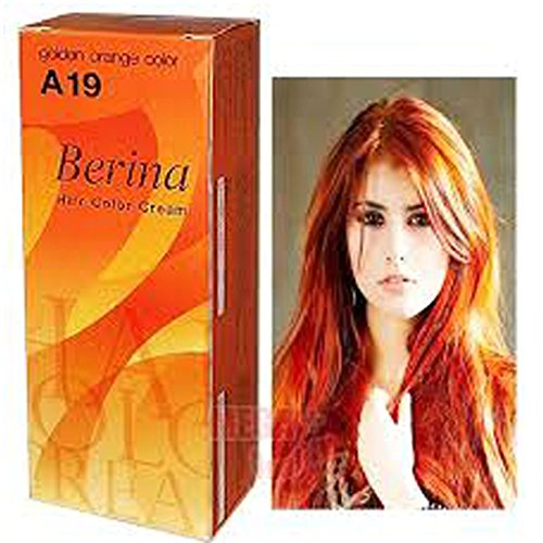 Berina Permanent Hair Dye Color Cream # A19 Golden Orange Color Made in Thailand By Sellgreat1449.