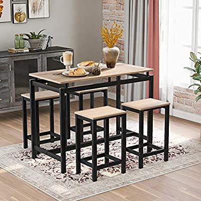 EKUPUZ 5 Piece Dining Table Set,Oak Modern Kitchen Table and 4,ChairsBreakfast Nook Table Set,Perfect for Home Kitchen/The Bar/Restauran Fast delivery from US Warehouse - *Dimensions: Table - 35H x 47.2L x 23.6W, Chair - 23.6H x 15L x 11.8W. Weight: Table+Chairs - 62.32lbs. Weight Capacity: Table – 264LBS, one Chair - 176LBS. *Perfect to apartment: Our Pub table set is perfect for apartment. Stools tuck under table for storage, save a lot of space. This counter height table set is equipped with foot pads to keep your floor be free of wear. *Durable Compact: Crafted MDF frame finish is built for durability to last for years to come, while also compact in design to accommodate small spaces. - kitchen-dining-room-furniture, kitchen-dining-room, dining-sets - 51N504e4B9L. SS400  -