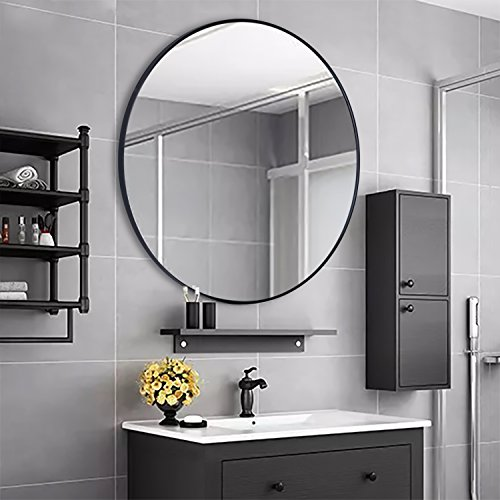 PLINRISE Large Modern Round Metal Framed Wall Mounting Mirror, Oversize Decorative Mirror for Living room or Bathroom (Diameter 31.5 Inch/80cm)
