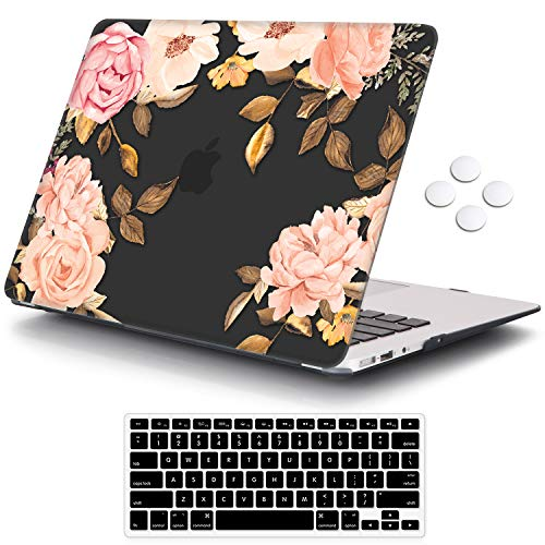 iCasso MacBook Air 11 inch Case Model A1370/A1465, Ultra Slim Pattern Plastic Hard Shell Case Protective Cover Compatible MacBook Air 11'' with Keyboard Cover Screen Protector - Watercolor Rose