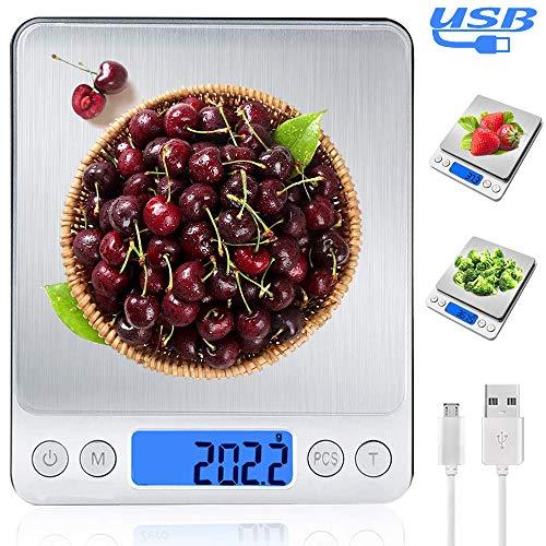 MyDear Báscula Digital para Cocina con Carga USB, Recargable Balanza de Acero Inoxidable Alimentos…