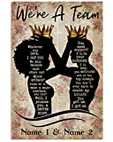 Personalized Black King & Queen Couple Poster We're A Team Vintage Poster/ 0.75 Inch Canvas Wall Art House Decor Full Size Gifts For Couple