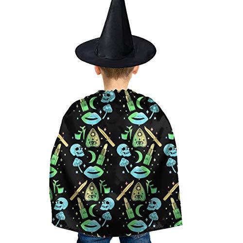 Amoyuan Unisex Kids Kerst Halloween Heks Mantel Met Hoed Pastel Goth Heks griezelige Halloween Wizard Cape Fancy Jurk