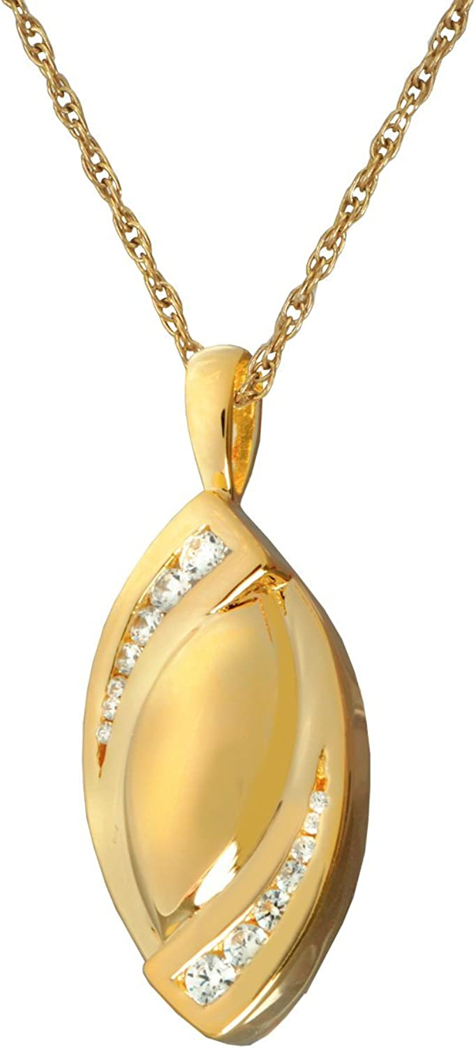 Memorial Gallery MG3195gp Double Tear Stone 14K gold Sterling Silver Plating Cremation Pet Jewelry
