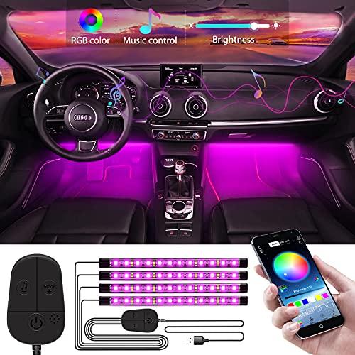 WILLED Iluminación LED interior para coche, Actualizado con controlador, APP Control,Interior Atmósfera Iluminación, Multi DIY Colors, Sincronización de música, Lámpara 4pcs 48leds con puerto USB 5V.