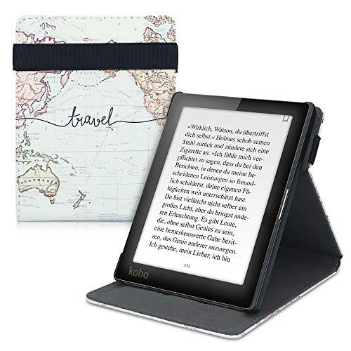 kwmobile Funda Compatible con Kobo Aura Edition 1 - Carcasa para e-Book de Cuero sintético - Mapa Mundial Negro/Multicolor