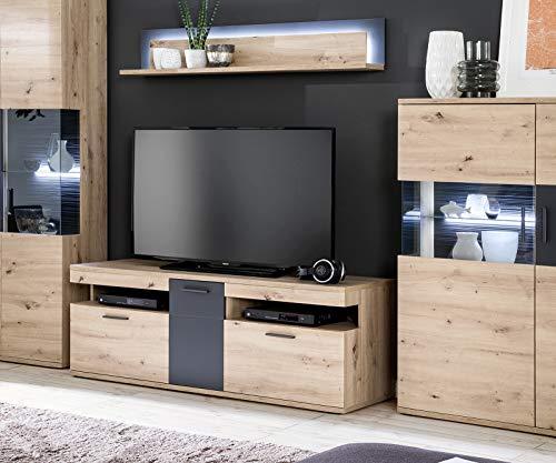 DELIFE Fernsehtisch Farum Eiche Optik 150 cm Melamin Lowboard