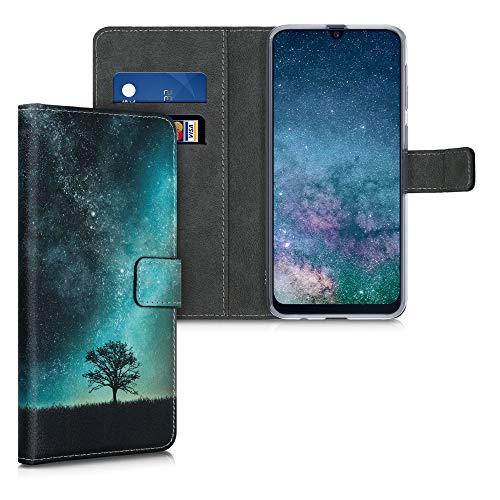 kwmobile Wallet Hülle kompatibel mit Samsung Galaxy M21 - Hülle mit Ständer Kartenfächer Galaxie Baum Wiese Blau Grau Schwarz