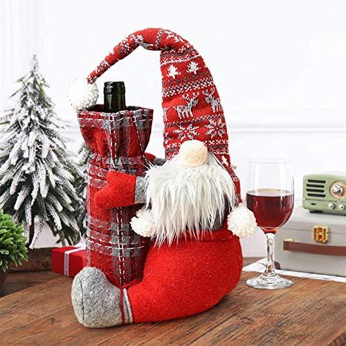 SPNEC Muñeca sin Rostro, Cubierta de Botella de Vino, decoración navideña para la Mesa del hogar, Adornos navideños 2020, Regalos, Feliz año Style 2