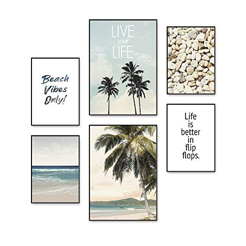 Artland Poster 6er Set Kunstdruck 2X DIN A3 & 4X DIN A4 Bilderset ohne Rahmen als Moderne Deko Natur Urlaub Strand Meer Palmen Karibik Insel U1QS