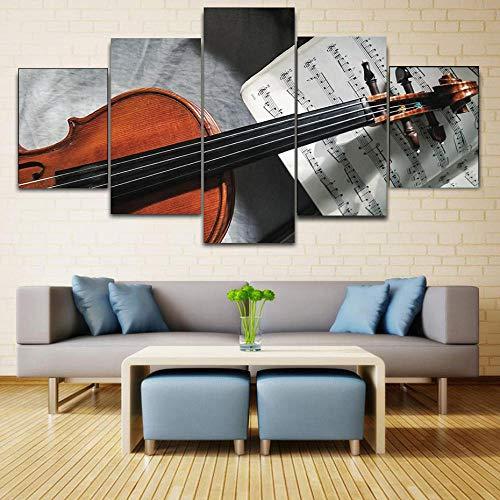 Bzdmly 5 stuks HD-prints poster modulaire muurkunst gitaar noten canvas schilderij voor woonkamer slaapkamer huis decoratieve afbeeldingen