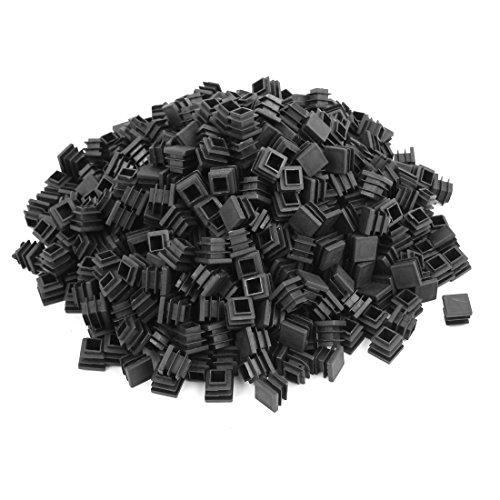 sourcing map bouchons carrés obturation extrémité insertions extrémité tuyau tube en plastique noir 16mmx16mm 500pcs