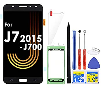 iFixmate LCD Screen Replacement for Samsung Galaxy J7 2015 J700 J700T J700F J700H J700M SM-J700 LCD Touch Screen Digitizer Glass Display Assembly with Repair Tools and Adhesive  Black