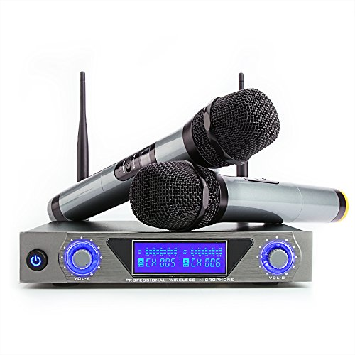 Microfono Senza Fili Doppio Microfono Wireless UHF Sistema Palmare Dinamico Wireless Professionale Mic con Display LED Home KTV Set per Karaoke, Party, DJ, Chiesa, Matrimonio, Riunione, Uso di classe
