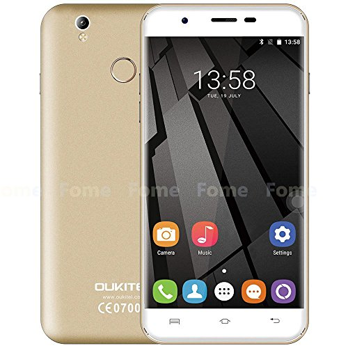 Oukitel U7 Plus - 5,5-Zoll-HD Android 6.0 4G Smartphone Quad-Core 1,3 GHz 2GB RAM 16GB ROM-Fingerabdruck-Scanner GPS Dual-SIM-13MP - Champagne-Gold