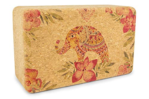 Yoloha Yoga Cork Yoga Block | Strong, Sustainable, Soft, Durable, Premium, Handmade, Moisture Resistant (Tropical Vibes)