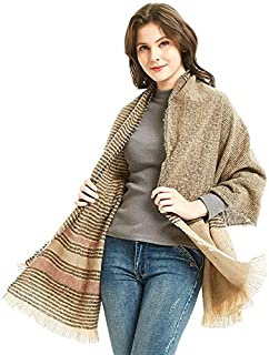WUNONG-AU Thick Striped Winter Warm Thick Shawl Female Fashion Imitation Cashmere Scarf (Color : Pink, Size : 180cm)