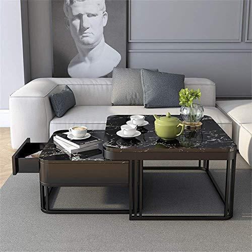 XiYou Nordic Marble Couchtisch, einfache kleine Teetisch mit Schublade für Wohnzimmer Licht Nesting Beistelltische Hotel Office Sofa Tisch Kombination