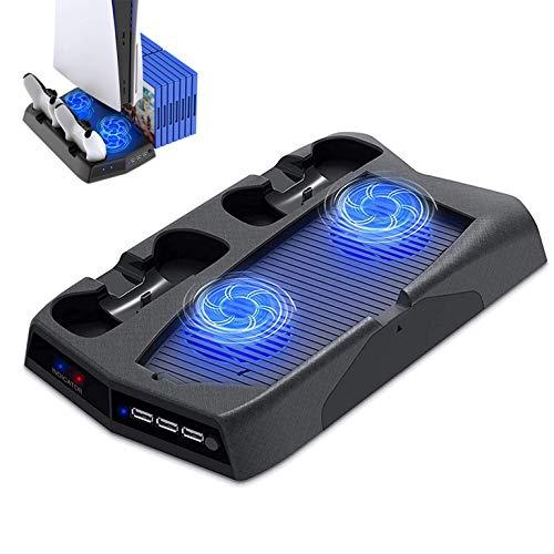 LVGOD Soporte Vertical De Carga De Refrigeración Ventilador De Pie Controlador Doble Estación De Carga 3 HUB USB Puerto del Cargador para PS5 Uhd Playstation 5 Consol