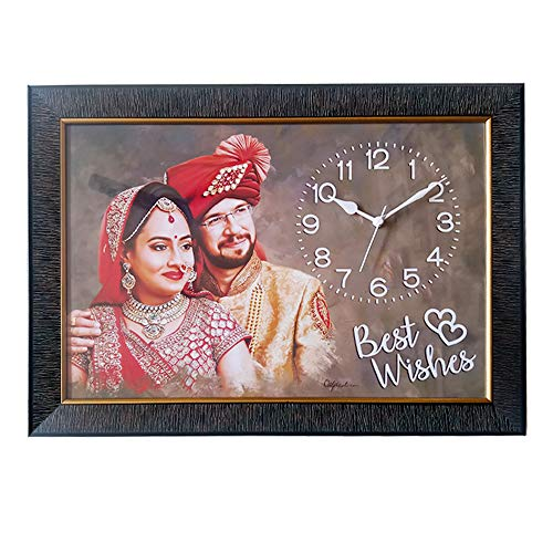 Deep Print Fiber and Wooden Personalized Clock Photo Frame (21'' X 15 '', Brown)