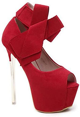 zapatos Peep Toes de mujer Bow Stage Nightclubs zapatos de Tacón Alto negro rojo Talla 35-40 (Color   rojo, Tamaño   35)