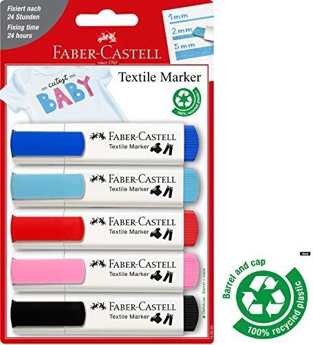 Faber-Castell 159530 - Textilmarker 5er, Baby-Party