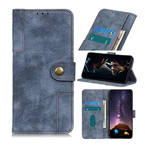 SCRENDY Hochwertige Leder Handyhülle für Xiaomi Poco M3 Pro 5G Hülle, Flip Hülle Tasche mit Magnetverschluss, Leder Schutzhülle mit Kreditkarten, Blau