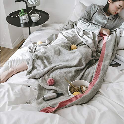DONGMIAN knuffelzachte gebreide deken sprei 130 x 160 cm – 100% puur katoen – ideaal als woondeken of bankplaid grijs