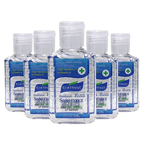 Eco Finest Hand Sanitizer Gel, 5-Pack 2 oz Travel Size, 75%...