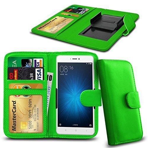 N4U ONLINE® Clip Serie Kunstleder Brieftasche Hülle für Allview V2 Viper X+ - Grün