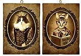KUSTOM ART Set di 2 Quadretti Stile Vintage Serie Animali (Gatti) da Collezione Stampa su ...