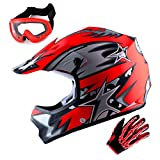 WOW Youth Motocross Helmet BMX MX ATV Dirt Bike Helmet Matt Star Red + Goggles + Skeleton Red Glove Bundle