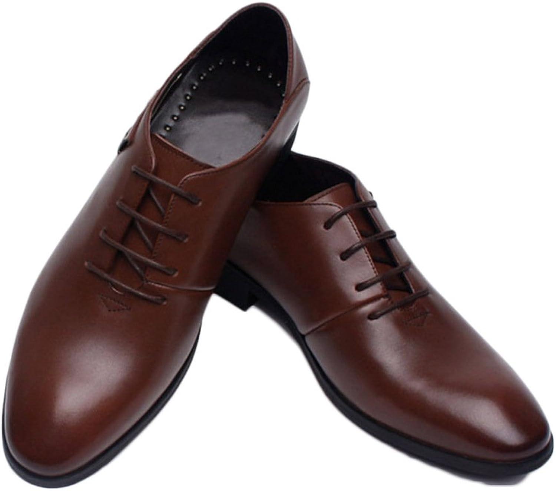 Snfgoij Male Leather shoes Black Tie Casual Soft Commerce Dress shoes Leather Men's shoes Breathable