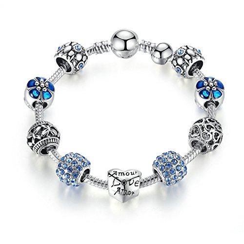 gome-z envejecido plata encanto pulsera y brazalete con amor y bola de cristal flor mujeres boda regalo del día de San Valentín PA1455PA150521cm
