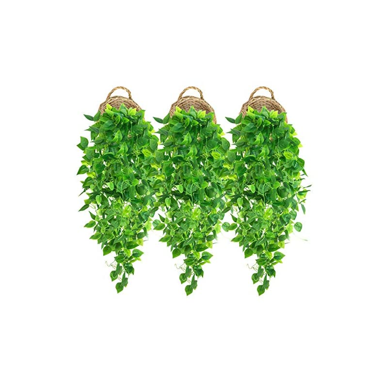 silk flower arrangements 3 pcs artificial hanging plants 3.6ft fake ivy vines faux ivy leaves hanging wall plants for home decor room garden wedding indoor outdoor decorations hanging greenery (no basket)