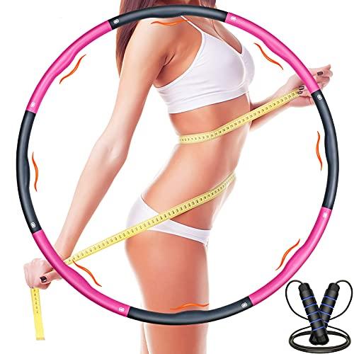 Hula Hoop Reifen, Hula Hoop für Erwachsene und Kinder, Fitness Hoola Hoop 6-8 Segmente Abnehmbarer Fitnessreifen mit Springseil und Maßband für Fitness/Training/Bauchmuskelkonturen, 1,2kg