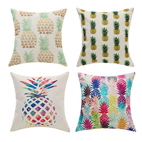 Uther Set of 4 Cotton Line Decorative Square Throw Pillow Covers Set Cushion Case for Sofa Bedroom Car Pineapple Pillowcases 18 x 18 Inch