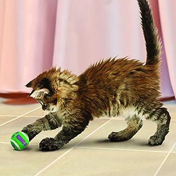 KONG - Cat Active Tennis Balls with Bells - Jouet pour Chat avec Clochette - Lot de 3
