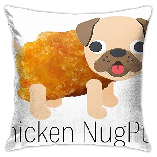 FETEAM Chicken Nugpug - Pug Chicken Nugget Funda de Almohada Cuadrada Cojín para sofá Cojín para Coche Decoración
