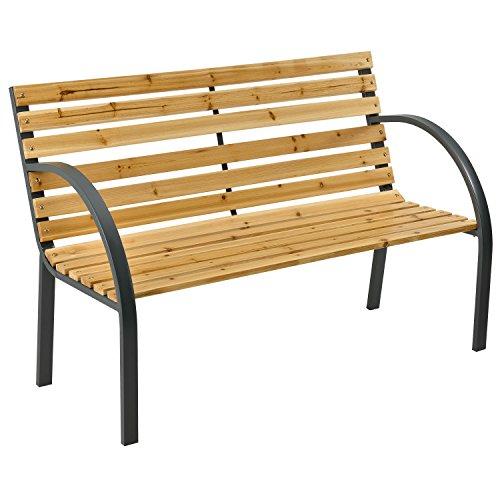ArtLife Gartenbank Modena – 2-Sitzer Holzbank mit Armlehnen & Rückenlehne – wetterfeste Sitzbank 120x62x82 cm - Bank mit Seitenelementen aus Stahl