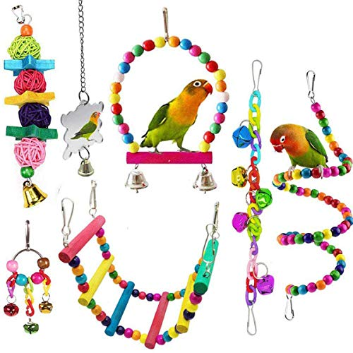 SONYANG Bird Parrot Toys 7 Pcs Parakeet Toys Hanging Bell Pet Bird Cage Hammock Swing Climbing Ladders Toy Wooden Perch Mirror Chewing Toy for Pet Parrot Lovebird Howl Budgie Cockatiels Macaws Finches